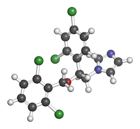 hydrogen: Isoconazole antifungal drug molecule. 3D rendering. Atoms are represented as spheres with conventional color coding: hydrogen (white), carbon (grey), nitrogen (blue), oxygen (red), chlorine (green).