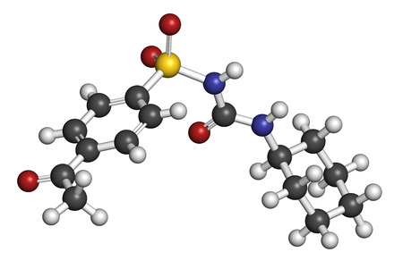 endocrinology: Acetohexamide diabetes drug molecule. 3D rendering. Atoms are represented as spheres with conventional color coding: hydrogen (white), carbon (grey), nitrogen (blue), oxygen (red), sulfur (yellow).