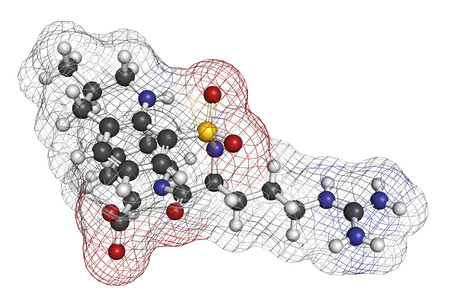 anticoagulant: Argatroban anticoagulant drug molecule (direct thrombin inhibitor). 3D rendering. Atoms are represented as spheres with conventional color coding: hydrogen (white), carbon (grey), nitrogen (blue), oxygen (red), sulfur (yellow).