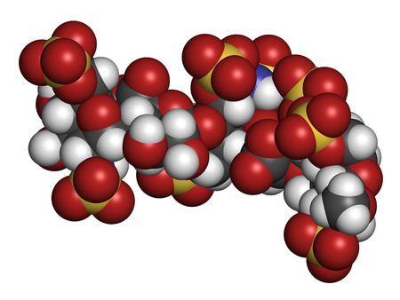 subcutaneous: Fondaparinux anticoagulant drug molecule. 3D rendering. Atoms are represented as spheres with conventional color coding: hydrogen (white), carbon (grey), oxygen (red), nitrogen (blue), sulfur (yellow).