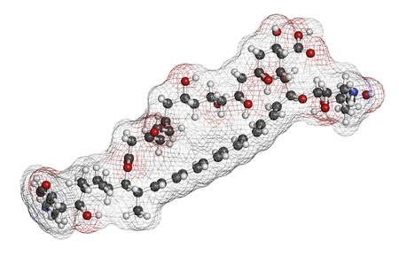 candida: Candicidin antifungal drug molecule. 3D rendering. Atoms are represented as spheres with conventional color coding: hydrogen (white), carbon (grey), oxygen (red), nitrogen (blue). Stock Photo