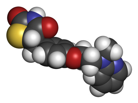 heart failure: Rosiglitazone diabetes drug molecule. 3D rendering. Atoms are represented as spheres with conventional color coding: hydrogen (white), carbon (grey), nitrogen (blue), oxygen (red), sulfur (yellow). Stock Photo