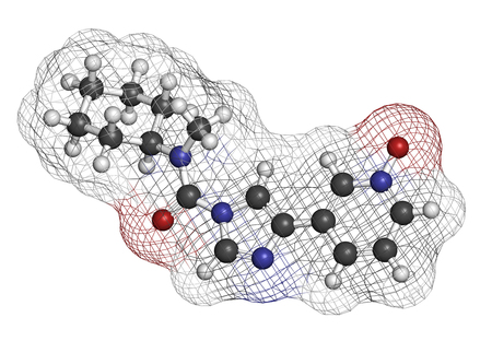 clinical trial: BIA 10-2474 experimental drug molecule. Fatty acid amide hydrolase (FAAH) inhibitor that caused severe adverse events in a clinical trial in France in 2016. 3D rendering. Atoms are represented as spheres with conventional color coding: hydrogen (white), c