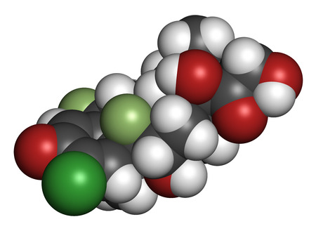 fluorine: Halometasone topical corticosteroid drug molecule. 3D rendering. Atoms are represented as spheres with conventional color coding: hydrogen (white), carbon (grey), oxygen (red), fluorine (light green).