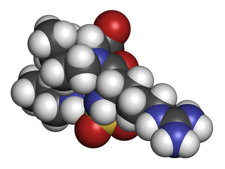 inhibitor: Argatroban anticoagulant drug molecule (direct thrombin inhibitor). 3D rendering. Atoms are represented as spheres with conventional color coding: hydrogen (white), carbon (grey), nitrogen (blue), oxygen (red), sulfur (yellow).