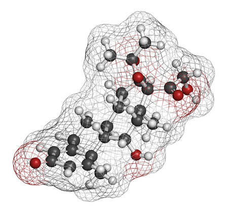 ointment: Desonide topical corticosteroid drug molecule. 3D rendering. Atoms are represented as spheres with conventional color coding: hydrogen (white), carbon (grey), oxygen (red).