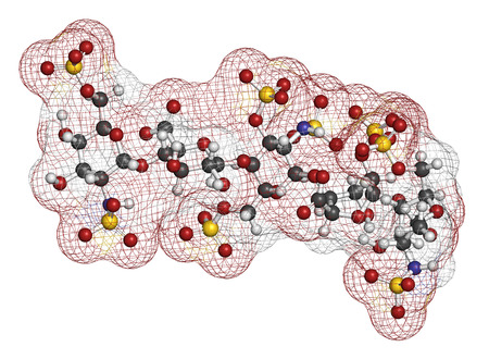 anticoagulant: Fondaparinux anticoagulant drug molecule. 3D rendering. Atoms are represented as spheres with conventional color coding: hydrogen (white), carbon (grey), oxygen (red), nitrogen (blue), sulfur (yellow).