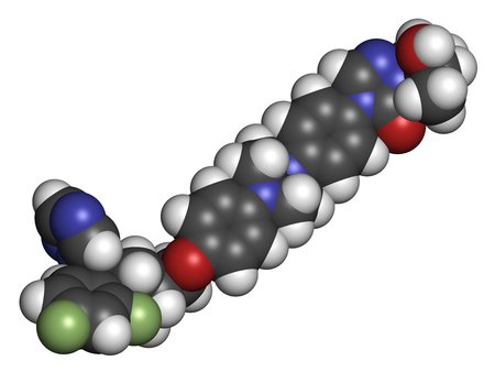 candida: Posaconazole antifungal drug molecule. 3D rendering. Atoms are represented as spheres with conventional color coding: hydrogen (white), carbon (grey), nitrogen (blue), oxygen (red), fluorine (light green). Stock Photo