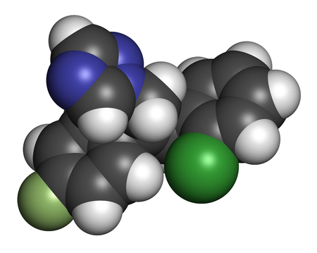 fluorine: Epoxiconazole fungicide molecule, used in agriculture for crop protection. 3D rendering. Atoms are represented as spheres with conventional color coding: hydrogen (white), carbon (grey), nitrogen (blue), oxygen (red), chlorine (green), fluorine (light gre