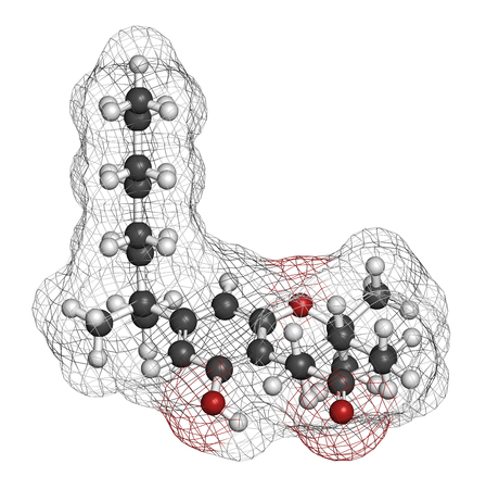 tetrahydrocannabinol: Nabilone antiemetic drug molecule. Analog of Cannabis compound THC. 3D rendering. Atoms are represented as spheres with conventional color coding: hydrogen (white), carbon (grey), oxygen (red). Stock Photo