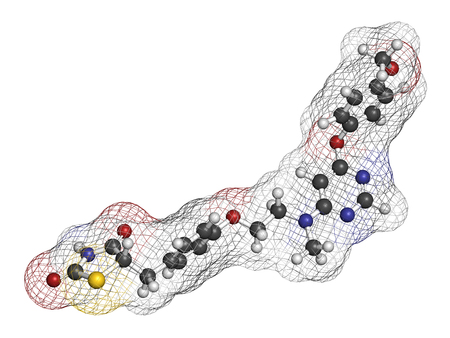 endocrinology: Lobeglitazone diabetes drug molecule. 3D rendering. Atoms are represented as spheres with conventional color coding: hydrogen (white), carbon (grey), nitrogen (blue), oxygen (red), sulfur (yellow). Stock Photo