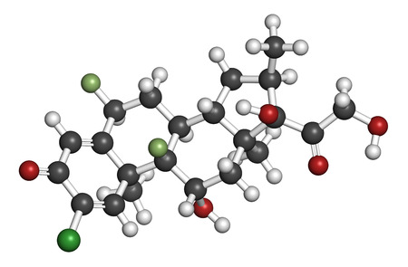 topical: Halometasone topical corticosteroid drug molecule. 3D rendering. Atoms are represented as spheres with conventional color coding: hydrogen (white), carbon (grey), oxygen (red), fluorine (light green).