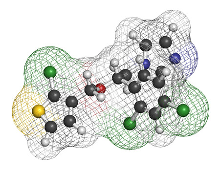 nitrogen: Tioconazole antifungal drug molecule. 3D rendering. Atoms are represented as spheres with conventional color coding: hydrogen (white), carbon (grey), nitrogen (blue), oxygen (red), chlorine (green), sulfur (yellow). Stock Photo