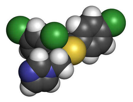 nitrogen: Sulconazole antifungal drug molecule. 3D rendering. Atoms are represented as spheres with conventional color coding: hydrogen (white), carbon (grey), nitrogen (blue), chlorine (green), sulfur (yellow). Stock Photo