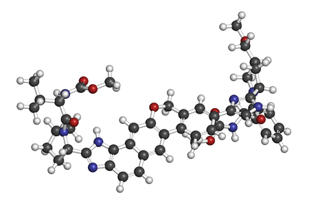 nitrogen: Velpatasvir hepatitis C virus (HCV) drug molecule. 3D rendering. Atoms are represented as spheres with conventional color coding: hydrogen (white), carbon (grey), oxygen (red), nitrogen (blue).