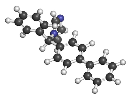 3d nitrogen: Bifonazole antifungal drug molecule. 3D rendering. Atoms are represented as spheres with conventional color coding: hydrogen (white), carbon (grey), nitrogen (blue). Stock Photo