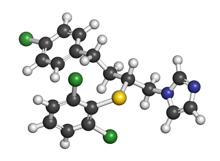 sulfur: Butoconazole antifungal drug molecule. 3D rendering. Atoms are represented as spheres with conventional color coding: hydrogen (white), carbon (grey), nitrogen (blue), sulfur (yellow), chlorine (green). Stock Photo