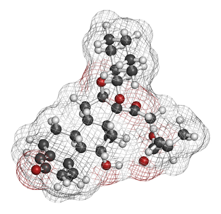 hydrogen: Ciclesonide glucocorticoid drug molecule. 3D rendering. Atoms are represented as spheres with conventional color coding: hydrogen (white), carbon (grey), oxygen (red).