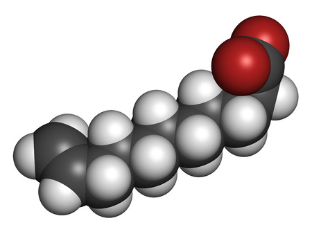 candida: Undecylenic acid topical antifungal drug molecule. 3D rendering. Atoms are represented as spheres with conventional color coding: hydrogen (white), carbon (grey), oxygen (red).