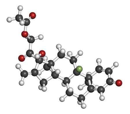 fluorine: Fluprednidene acetate corticosteroid molecule. 3D rendering. Atoms are represented as spheres with conventional color coding: hydrogen (white), carbon (grey), oxygen (red), fluorine (light green).