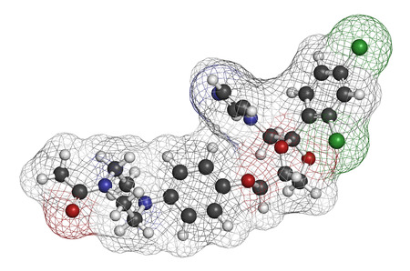 thrush: Ketoconazole antifungal drug molecule. 3D rendering. Atoms are represented as spheres with conventional color coding: hydrogen (white), carbon (grey), nitrogen (blue), oxygen (red), chlorine (green). Stock Photo