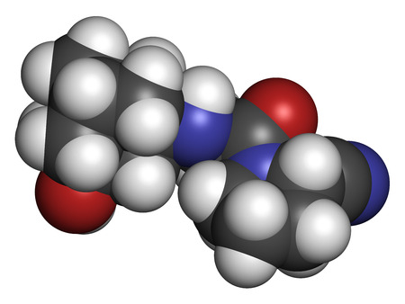 hydrogen: Vildagliptin diabetes drug molecule. 3D rendering. Atoms are represented as spheres with conventional color coding: hydrogen (white), carbon (grey), nitrogen (blue), oxygen (red).