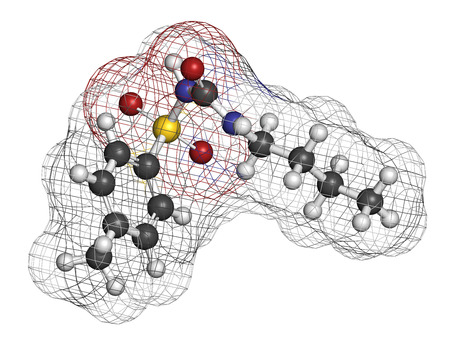 hypoglycemic: Tolbutamide diabetes drug molecule. 3D rendering. Atoms are represented as spheres with conventional color coding: hydrogen (white), carbon (grey), nitrogen (blue), oxygen (red), sulfur (yellow).