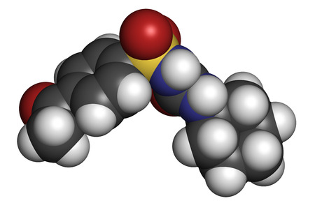 hydrogen: Acetohexamide diabetes drug molecule. 3D rendering. Atoms are represented as spheres with conventional color coding: hydrogen (white), carbon (grey), nitrogen (blue), oxygen (red), sulfur (yellow).