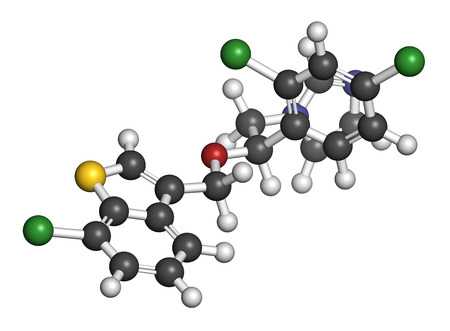 candida: Sertaconazole antifungal drug molecule. 3D rendering. Atoms are represented as spheres with conventional color coding: hydrogen (white), carbon (grey), nitrogen (blue), oxygen (red), chlorine (green), sulfur (yellow).