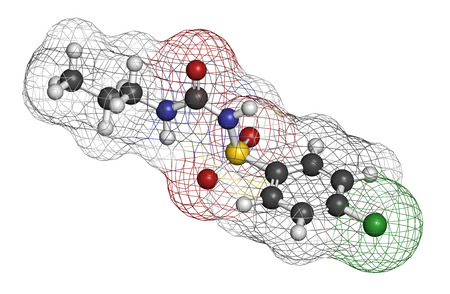 sulfur: Chlorpropamide diabetes drug molecule. 3D rendering. Atoms are represented as spheres with conventional color coding: hydrogen (white), carbon (grey), nitrogen (blue), oxygen (red), sulfur (yellow), chlorine (green). Stock Photo
