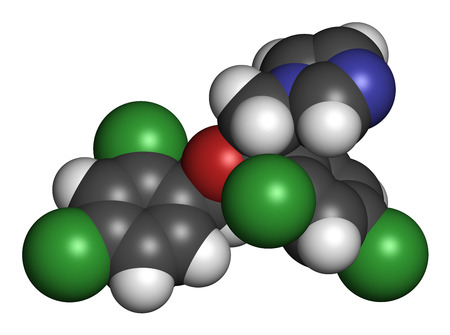 protozoa: Miconazole antifungal drug molecule. 3D rendering. Atoms are represented as spheres with conventional color coding: hydrogen (white), carbon (grey), nitrogen (blue), oxygen (red), chlorine (green). Stock Photo