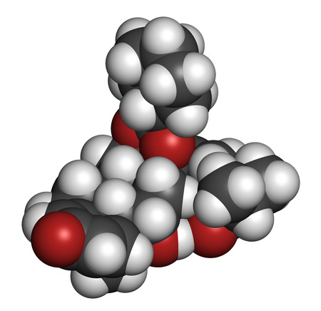 rhinitis: Ciclesonide glucocorticoid drug molecule. 3D rendering. Atoms are represented as spheres with conventional color coding: hydrogen (white), carbon (grey), oxygen (red).