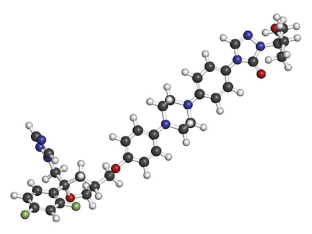hydrogen: Posaconazole antifungal drug molecule. 3D rendering. Atoms are represented as spheres with conventional color coding: hydrogen (white), carbon (grey), nitrogen (blue), oxygen (red), fluorine (light green). Stock Photo