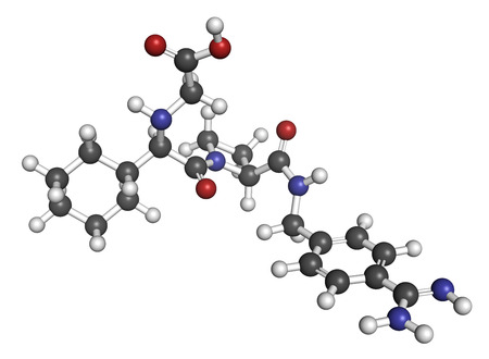 thrombus: Melagatran anticoagulant drug molecule (direct thrombin inhibitor). 3D rendering. Atoms are represented as spheres with conventional color coding: hydrogen (white), carbon (grey), nitrogen (blue), oxygen (red), sulfur (yellow). Stock Photo