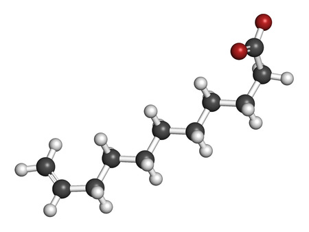 hydrogen: Undecylenic acid topical antifungal drug molecule. 3D rendering. Atoms are represented as spheres with conventional color coding: hydrogen (white), carbon (grey), oxygen (red).
