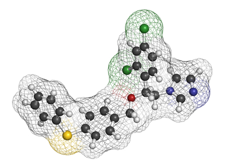 sulfur: Fenticonazole antifungal drug molecule. 3D rendering. Atoms are represented as spheres with conventional color coding: hydrogen (white), carbon (grey), nitrogen (blue), oxygen (red), sulfur (yellow), chlorine (green).