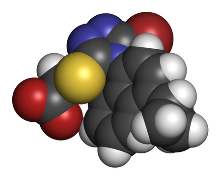 inflammatory: Lesinurad gout drug molecule. 3D rendering. Atoms are represented as spheres with conventional color coding: hydrogen (white), carbon (grey), nitrogen (blue), oxygen (red), sulfur (yellow), bromine (brown). Stock Photo