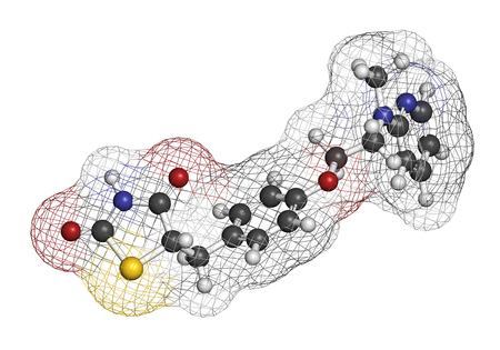 sulfur: Rosiglitazone diabetes drug molecule. 3D rendering. Atoms are represented as spheres with conventional color coding: hydrogen (white), carbon (grey), nitrogen (blue), oxygen (red), sulfur (yellow). Stock Photo