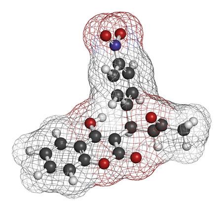 HIDROGENO: Acenocumarol molécula del fármaco anticoagulante (antagonistas de vitamina K). representación 3D. Los átomos se representan como esferas con codificación de colores convencionales: hidrógeno (blanco), carbono (gris), nitrógeno (azul), oxígeno (rojo). Foto de archivo