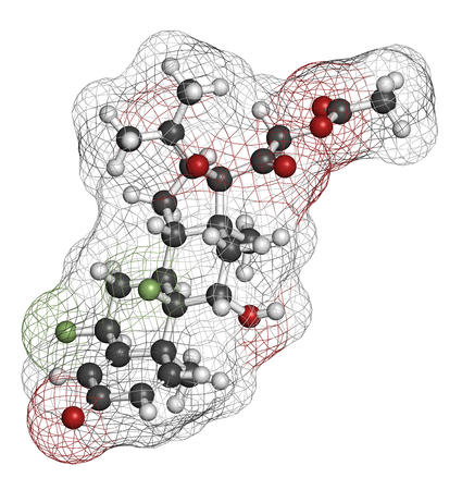 atrophy: Fluocinonide topical corticosteroid drug molecule. 3D rendering. Atoms are represented as spheres with conventional color coding: hydrogen (white), carbon (grey), oxygen (red), fluorine (light green).