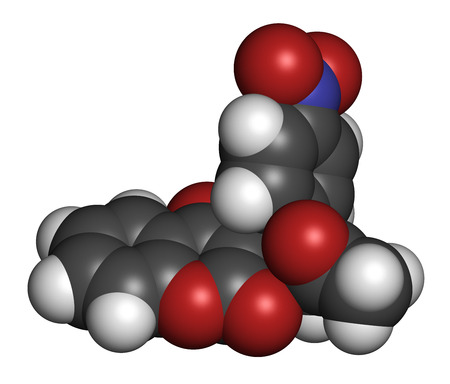 anticoagulant: Acenocoumarol anticoagulant drug molecule (vitamin K antagonist). 3D rendering. Atoms are represented as spheres with conventional color coding: hydrogen (white), carbon (grey), nitrogen (blue), oxygen (red).
