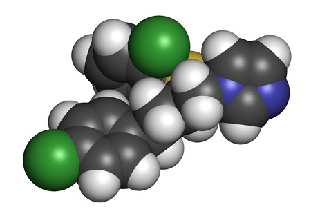 3d nitrogen: Butoconazole antifungal drug molecule. 3D rendering. Atoms are represented as spheres with conventional color coding: hydrogen (white), carbon (grey), nitrogen (blue), sulfur (yellow), chlorine (green). Stock Photo
