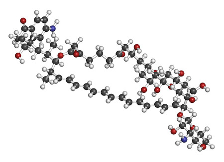 pharma: Candicidin antifungal drug molecule. 3D rendering. Atoms are represented as spheres with conventional color coding: hydrogen (white), carbon (grey), oxygen (red), nitrogen (blue). Stock Photo