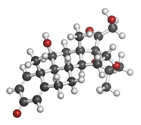 atopic: Desonide topical corticosteroid drug molecule. 3D rendering. Atoms are represented as spheres with conventional color coding: hydrogen (white), carbon (grey), oxygen (red).