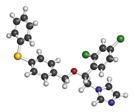 vaginal: Fenticonazole antifungal drug molecule. 3D rendering. Atoms are represented as spheres with conventional color coding: hydrogen (white), carbon (grey), nitrogen (blue), oxygen (red), sulfur (yellow), chlorine (green).