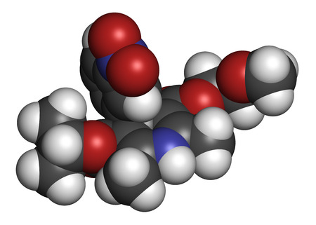 hydrogen: Nimodopine vasospasm drug molecule. 3D rendering. Atoms are represented as spheres with conventional color coding: hydrogen (white), carbon (grey), oxygen (red), nitrogen (blue).