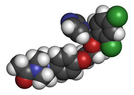 nitrogen: Ketoconazole antifungal drug molecule. 3D rendering. Atoms are represented as spheres with conventional color coding: hydrogen (white), carbon (grey), nitrogen (blue), oxygen (red), chlorine (green). Stock Photo