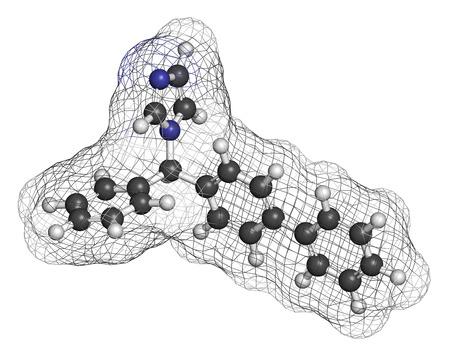 nitrogen: Bifonazole antifungal drug molecule. 3D rendering. Atoms are represented as spheres with conventional color coding: hydrogen (white), carbon (grey), nitrogen (blue). Stock Photo