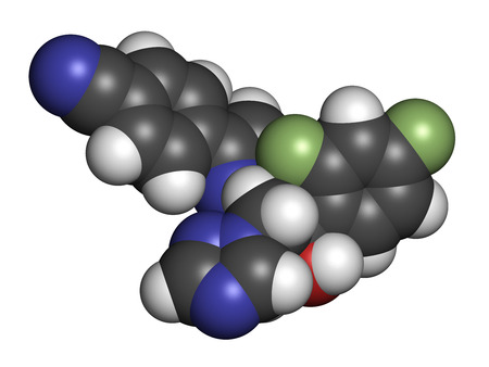 hydrogen: Ravuconazole antifungal drug molecule. 3D rendering. Atoms are represented as spheres with conventional color coding: hydrogen (white), carbon (grey), nitrogen (blue), oxygen (red), sulfur (yellow), fluorine (light green).