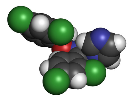 itch: Oxiconazole antifungal drug molecule. 3D rendering. Atoms are represented as spheres with conventional color coding: hydrogen (white), carbon (grey), nitrogen (blue), oxygen (red), chlorine (green). Stock Photo
